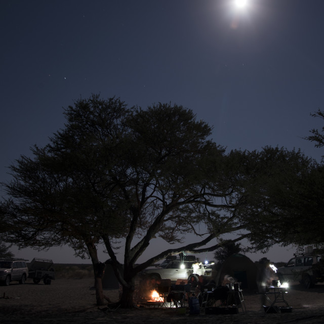 """Camping and moonrise"" stock image"