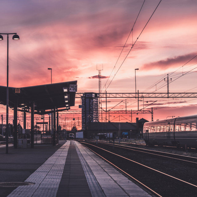 """Train station sunset"" stock image"
