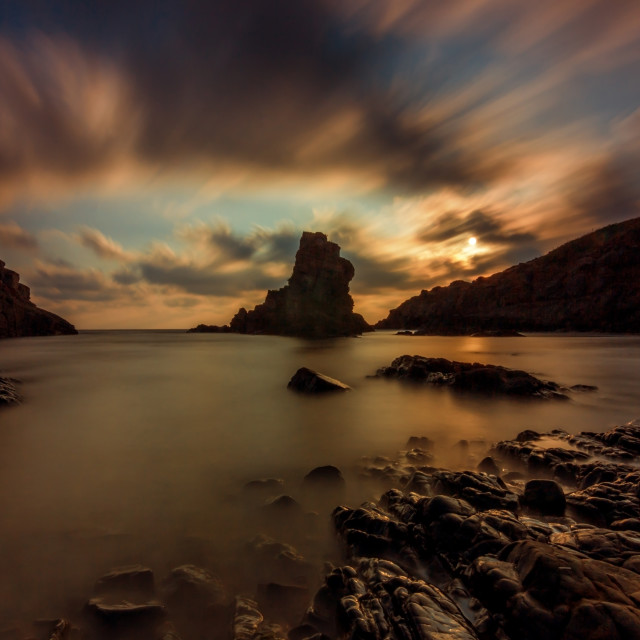 """""""Seascape with rocks"""" stock image"""