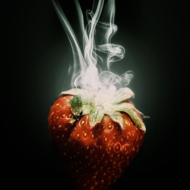"""""""smoking strawberry"""" stock image"""