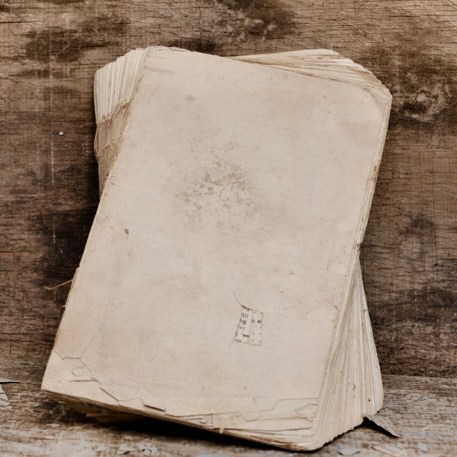 """""""old book on a plank"""" stock image"""