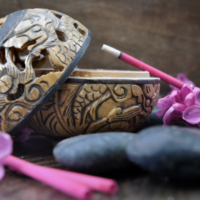 """lilac incense on burner"" stock image"