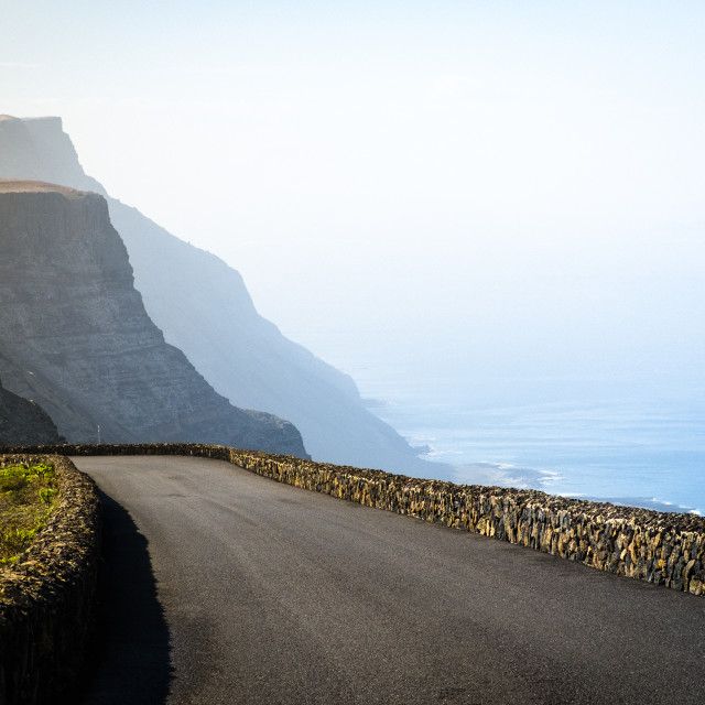 """""""Road in the volcanic area of Lanzarote"""" stock image"""