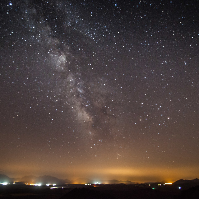"""""""Milky Way Over Spanish Town"""" stock image"""