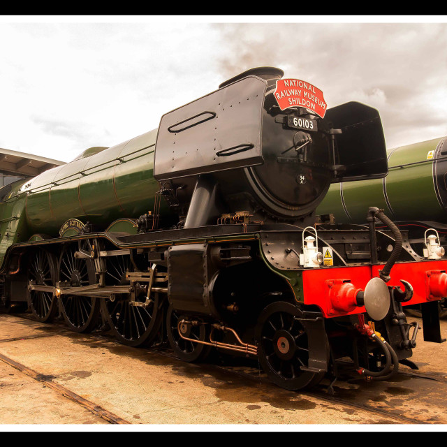 """Flying Scotsman in Light Steam"" stock image"