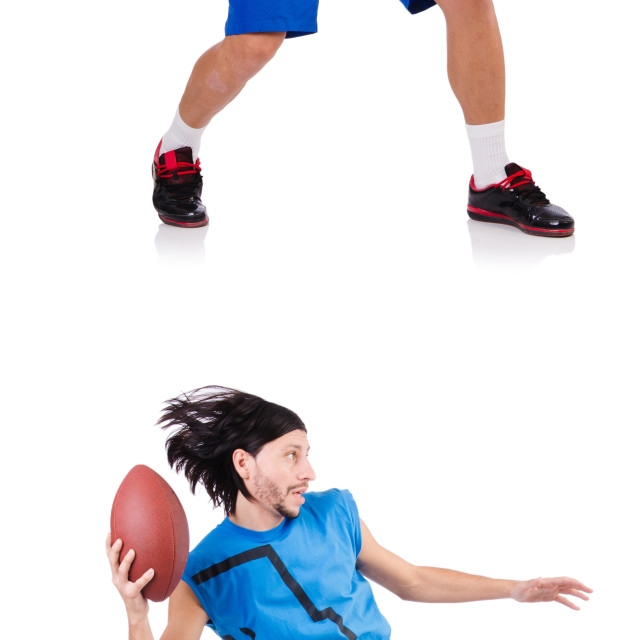 """Young american football player on white"" stock image"