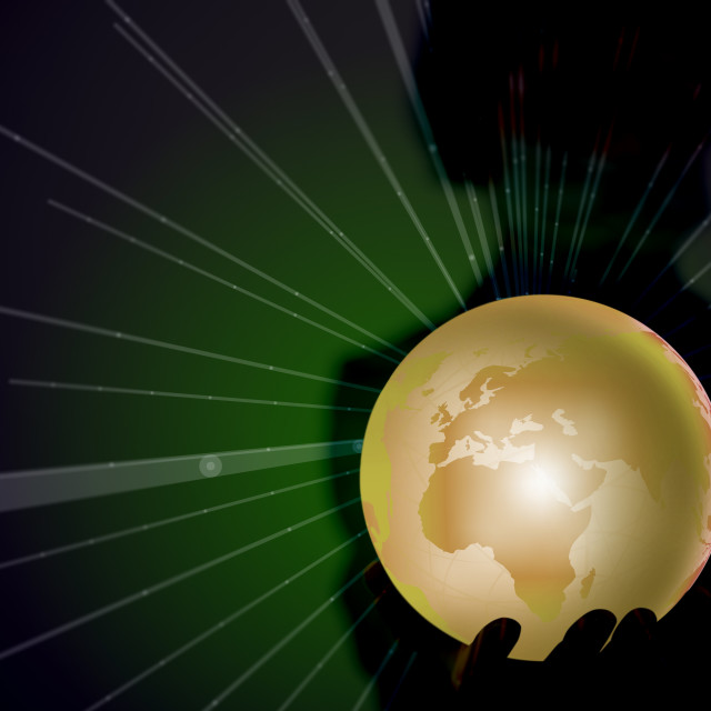 """Person holding earth in globalisation concept"" stock image"