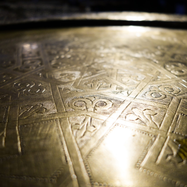 """close up of Moroccan serving tray"" stock image"
