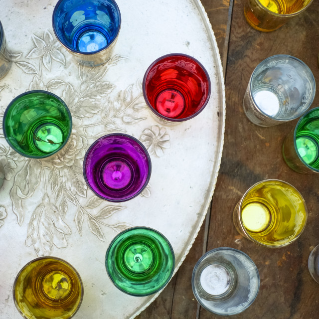 """Moroccan serving tray with colourful cups"" stock image"