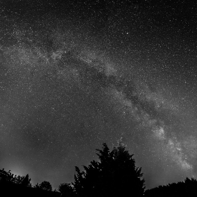 """Milky way stitched panorama in black and white"" stock image"