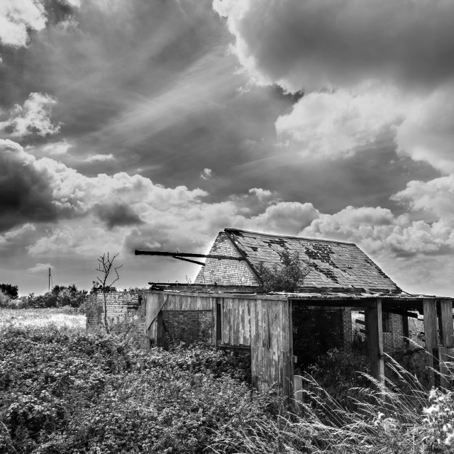 """Black and White Photograph of Old Farm"" stock image"