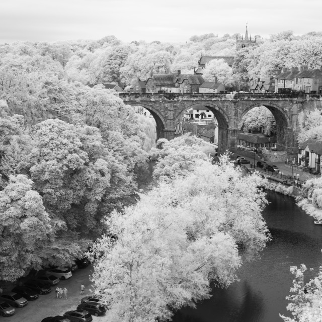 """Bridge, river and trees"" stock image"
