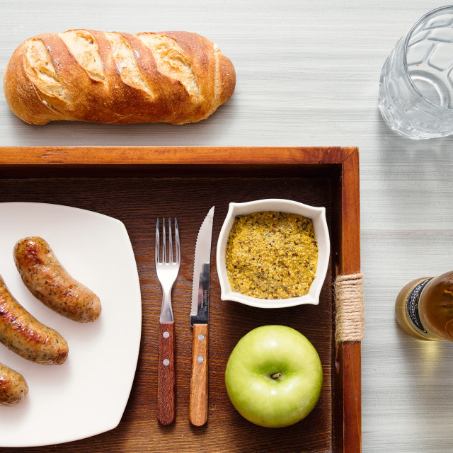 """""""cooked Sausages on a plate and tray"""" stock image"""