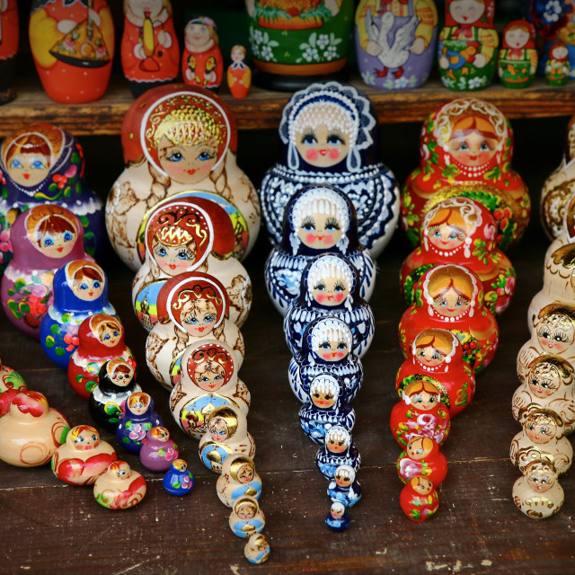 """Sets of Matryoshka dolls"" stock image"