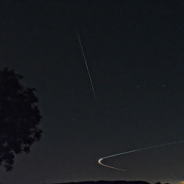 """""""Perseid meteor shower and plane 2016"""" stock image"""