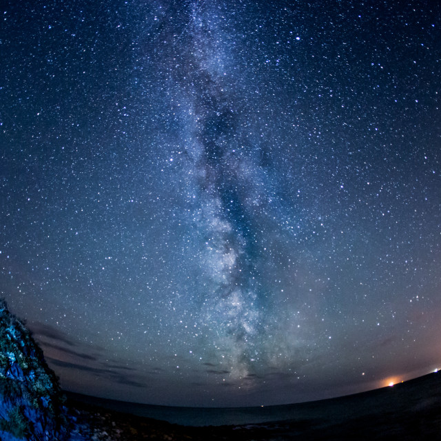 """Milky Way over Kimmeridge"" stock image"
