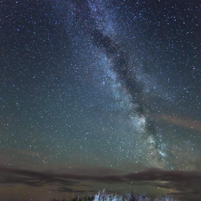 """Milky Way over Kimmeridge"" stock image"