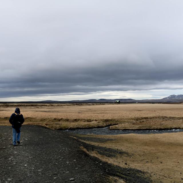 """""""Backpacking Iceland"""" stock image"""