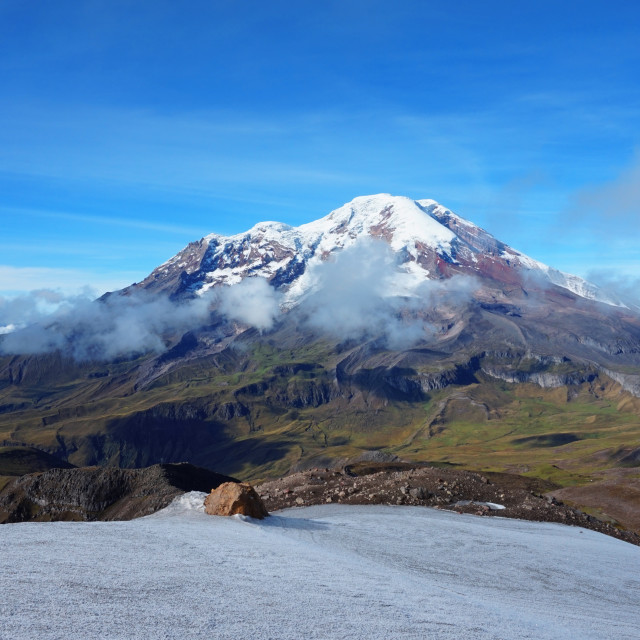 """View of Chimborazo volcano from Carihuairazo summit in Ecuador"" stock image"