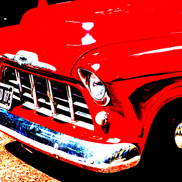 """""""Red Chevy pickup"""" stock image"""