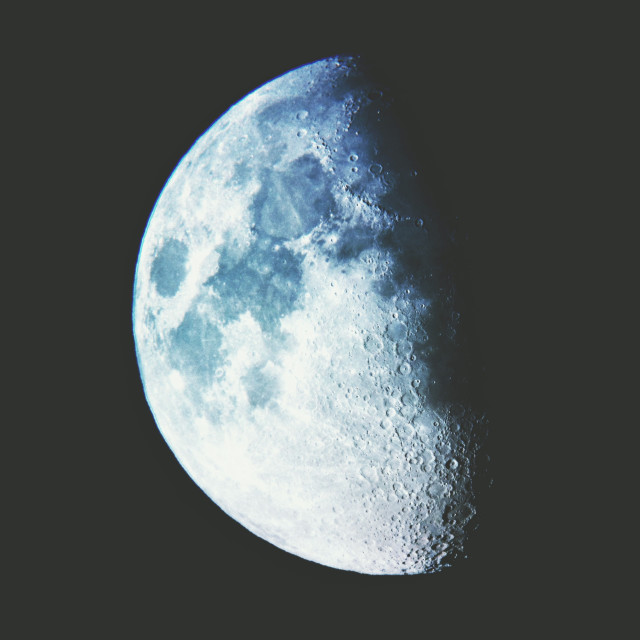 """The moon with a colour overlay"" stock image"