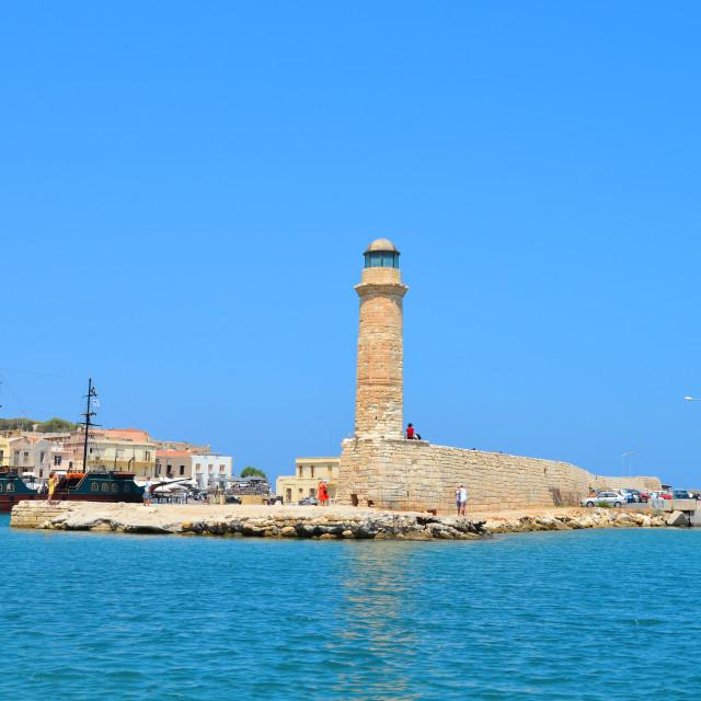 """""""Rethymno lighthouse landmark"""" stock image"""
