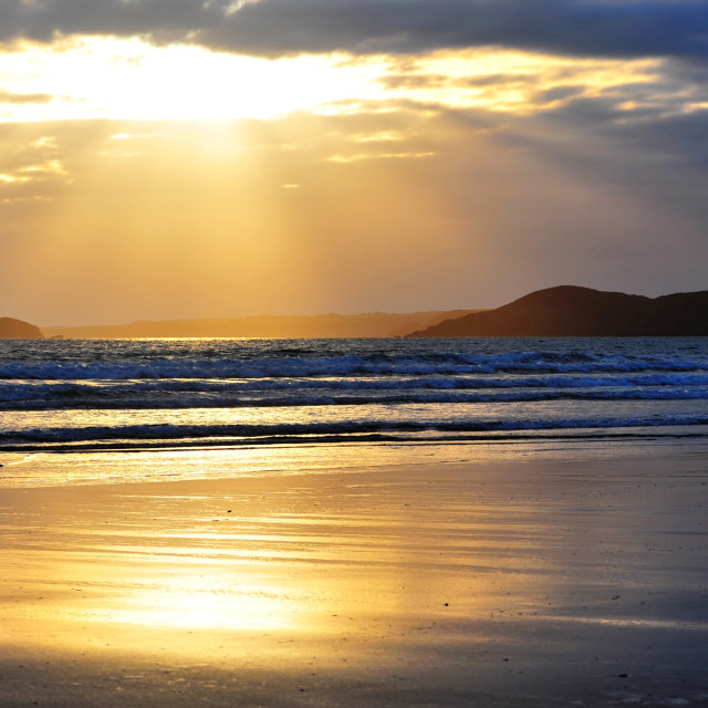 """sunset on Newgale beach"" stock image"