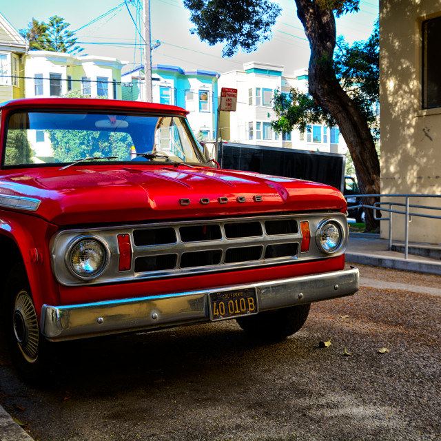 """Red truck parked"" stock image"