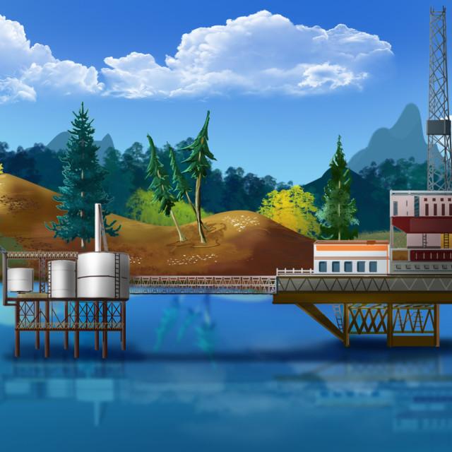 """Oil platform in the sea. Panorama"" stock image"