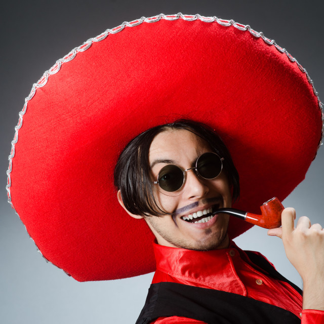 """""""Person wearing sombrero hat in funny concept"""" stock image"""