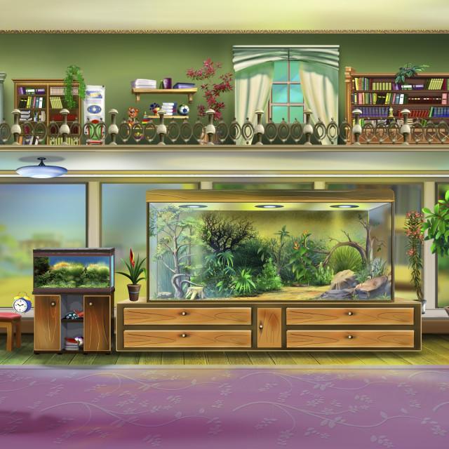 """Home Interior with Aquariums"" stock image"