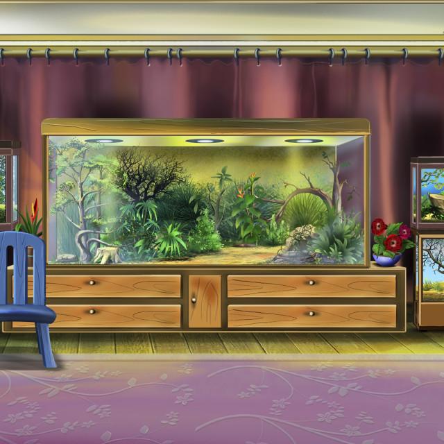 """Room Interior with Terrariums"" stock image"