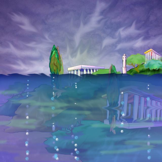"""Atlantis. Legendary Lost Ancient City."" stock image"