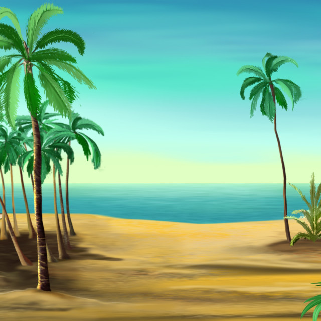 """""""Palm trees on the shore of the Mediterranean Sea."""" stock image"""
