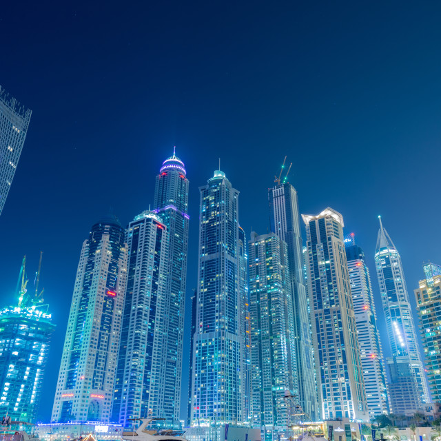 """Dubai - JANUARY 10, 2015: Marina district on January 10 in UAE, Dubai. Marina..."" stock image"