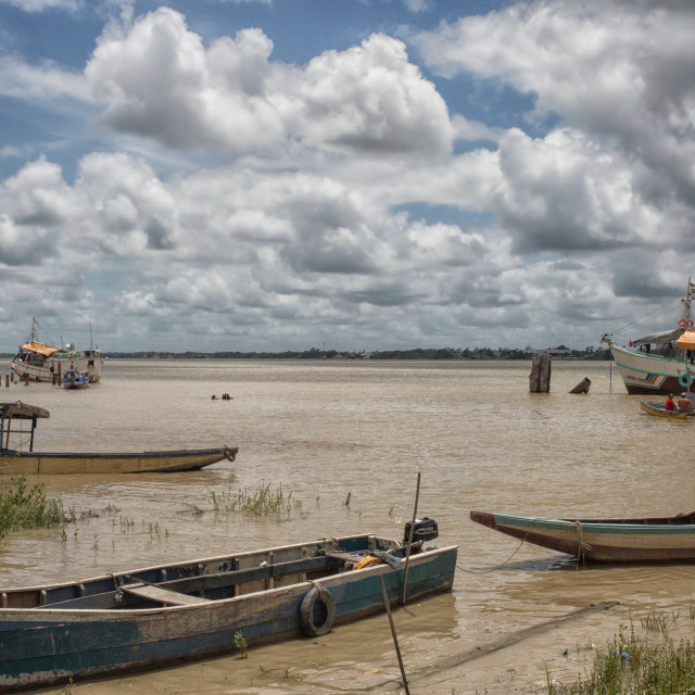 """""""Colorful wooden boats in Paramaribo"""" stock image"""