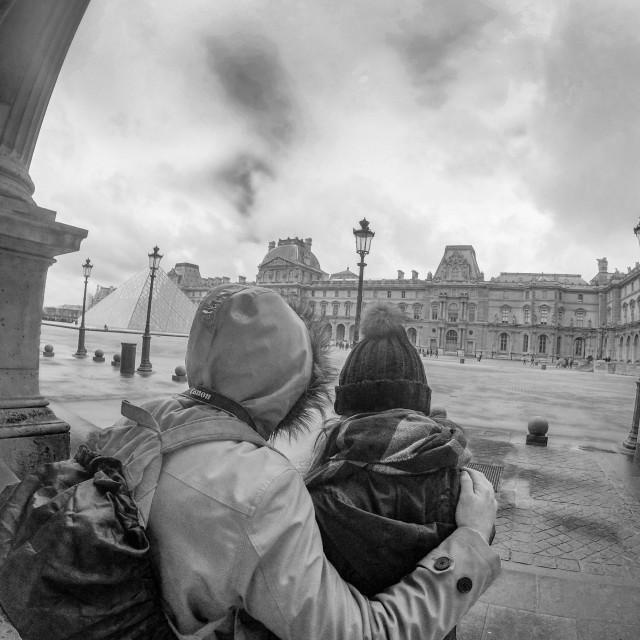 """Love at the Louvre, Paris."" stock image"