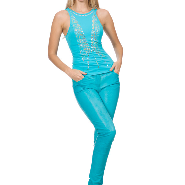 """""""Pretty blond woman in blue pants and shirt isolated on white"""" stock image"""