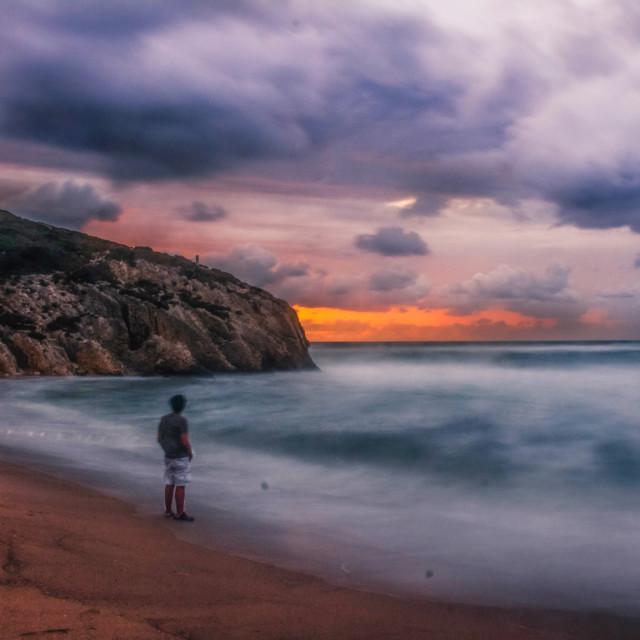"""Watching sunset"" stock image"