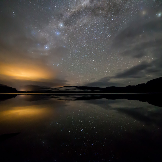 """""""milky way over mapourika"""" stock image"""