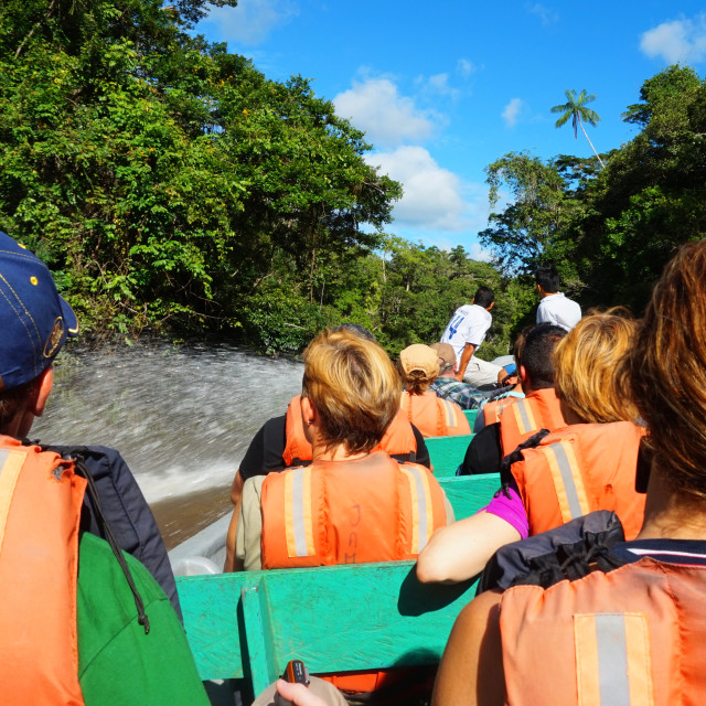 """""""Tourists traveling by boat on a river in the Ecuadorian Amazon"""" stock image"""