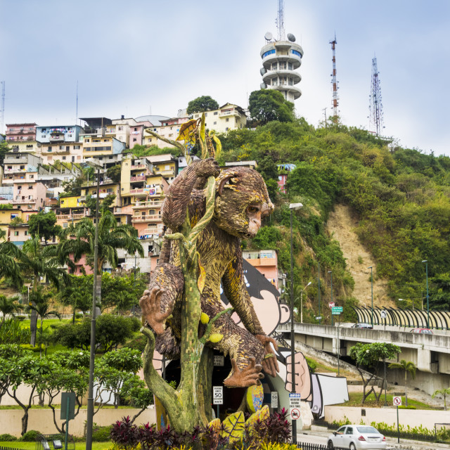 """Capuchin monkey sculpture in Guayaquil"" stock image"