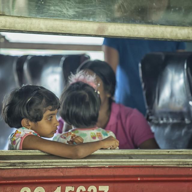 """""""Girl in train in Sri Lanka"""" stock image"""