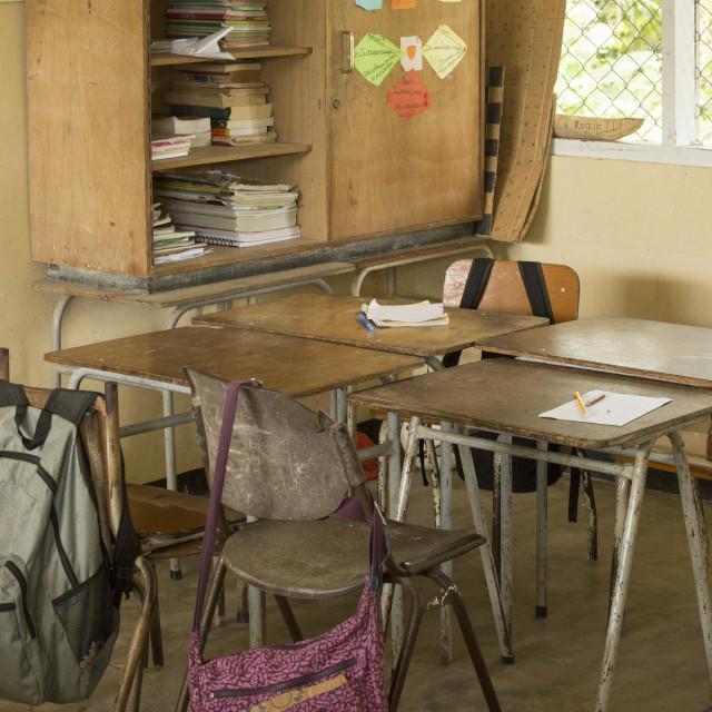 """Empty classroom in Suriname"" stock image"