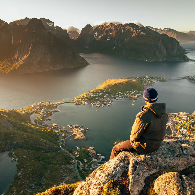 """Taking in the view, Reinebringen"" stock image"