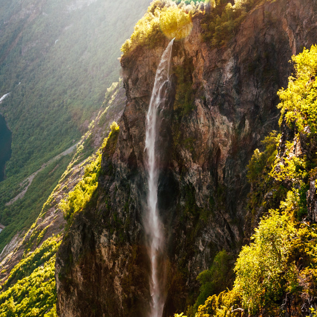 """Geirangerfjord waterfall"" stock image"
