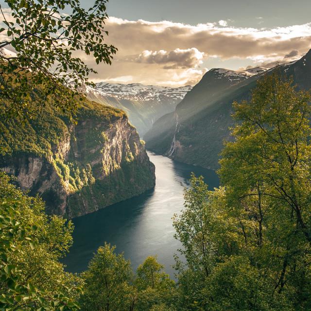 """""""Geirangerfjord light"""" stock image"""
