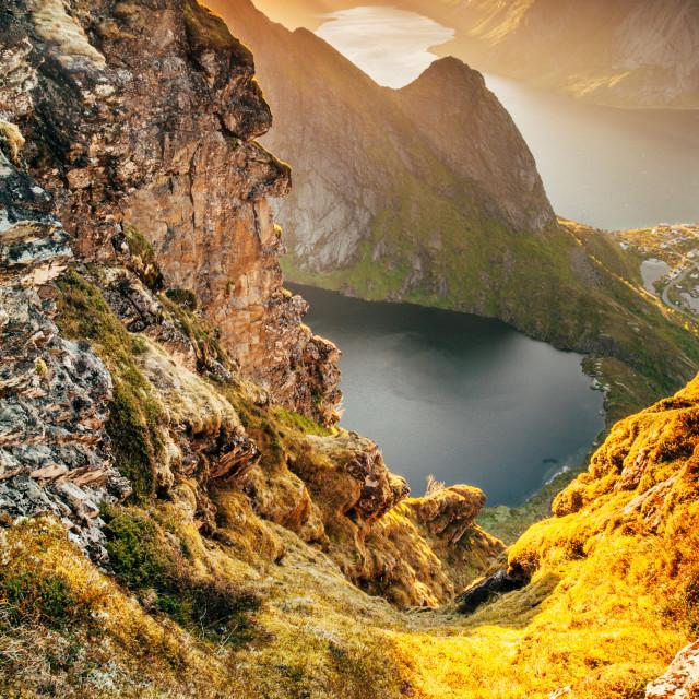 """""""Midnight sun, Lofoten"""" stock image"""