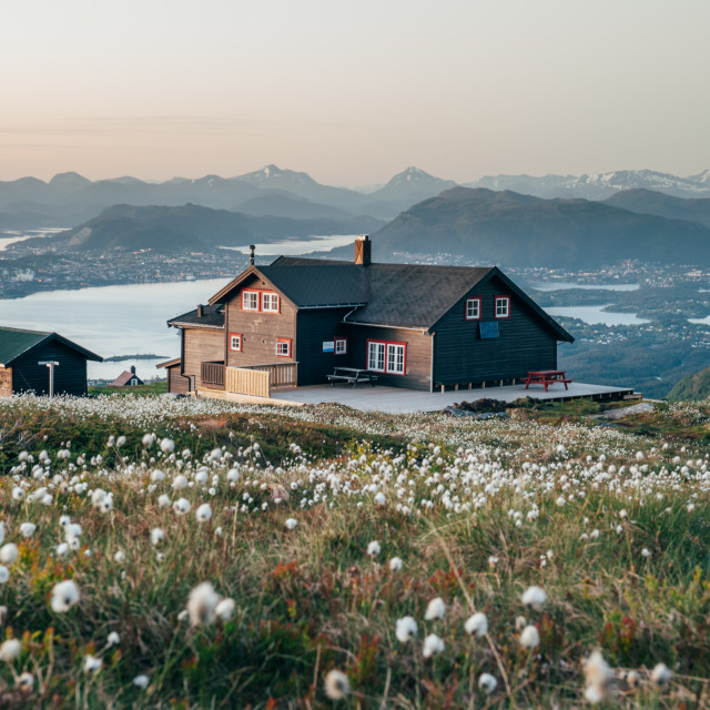 """Sunset in the Norwegian Fjords"" stock image"