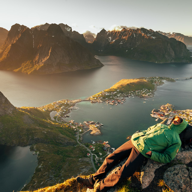 """Napping up high, Reinebringen, Lofoten"" stock image"